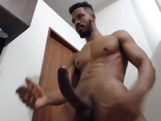 black Latino Black Guy With An Extra Big Cock Shoots His Load latino